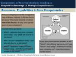 components of internal analysis leading to competitive advantage strategic competitiveness