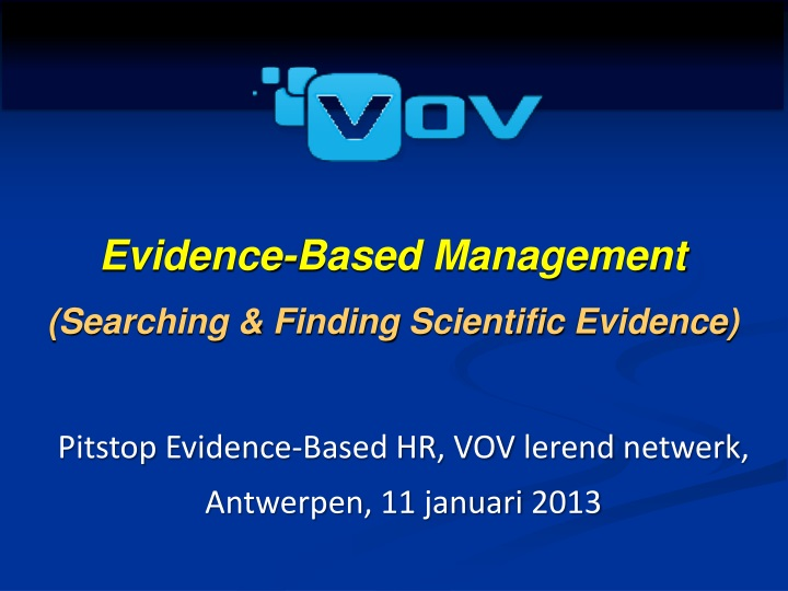 evidence based management s earching finding n.