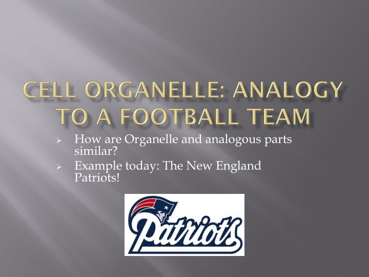 Ppt Cell Organelle Analogy To A Football Team Powerpoint