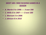 most 100 yard rushing games in a season