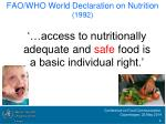 fao who world declaration on nutrition 1992