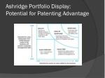 ashridge portfolio display potential for patenting advantage