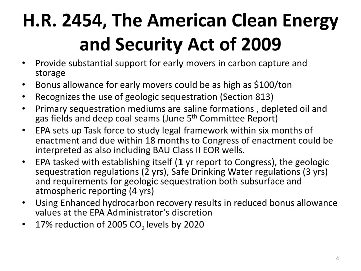 H.R. 2454, The American Clean Energy and Security Act of 2009