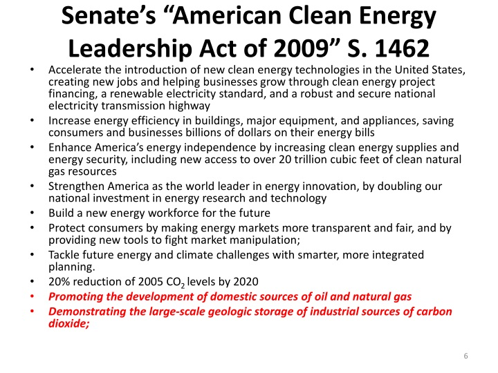 "Senate's ""American Clean Energy Leadership Act of 2009"" S. 1462"