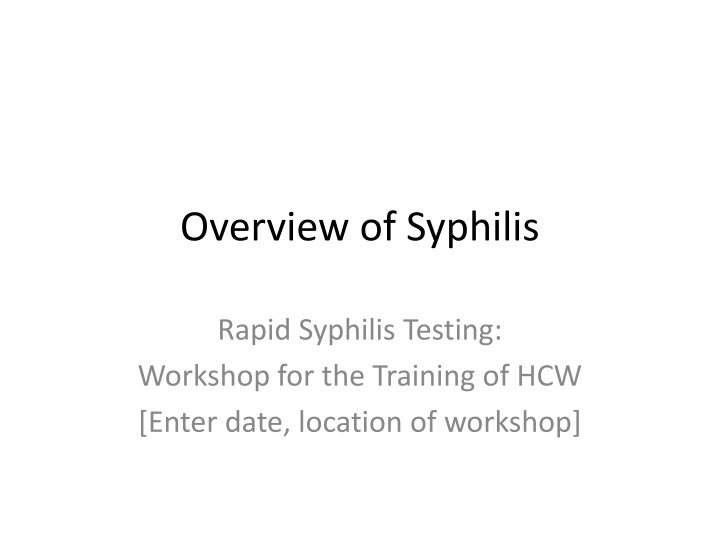 overview of syphilis n.