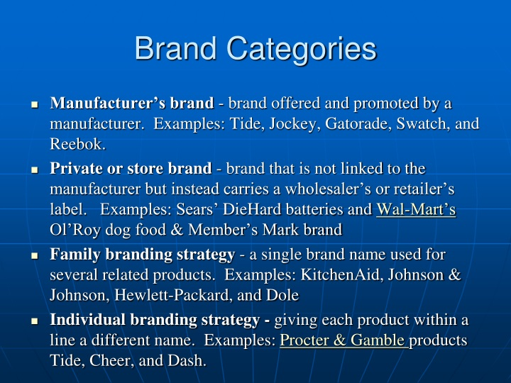 Brand Categories