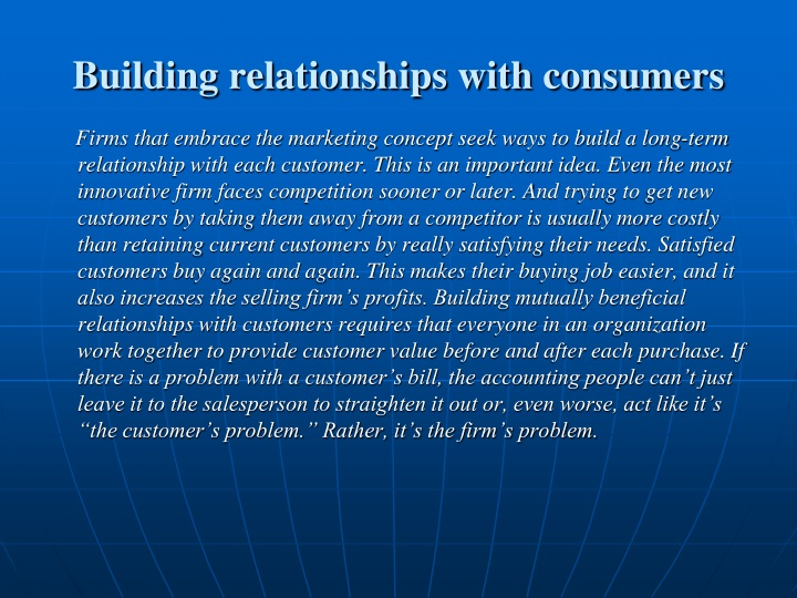 Building relationships with consumers