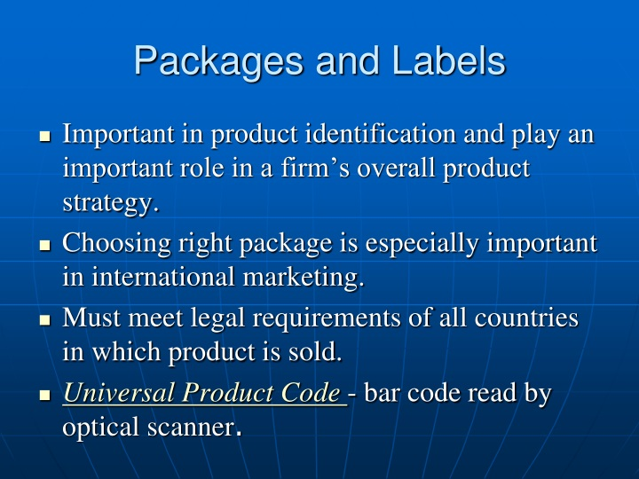Packages and Labels