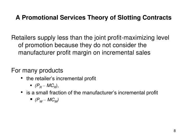 background of slotting fees essay A slotting fee, slotting allowance[1], pay-to-stay, or fixed trade spending[2] is a fee charged to produce companies or manufacturers by supermarket distributors (retailers) in in addition to slotting fees, retailers may also charge promotional, advertising and stocking fees according to an ftc study, the.