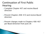 continuation of first public hearing