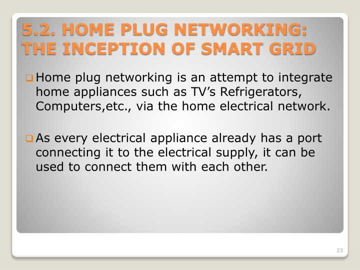 Home plug networking is an attempt to integrate home appliances such as TV's Refrigerators,
