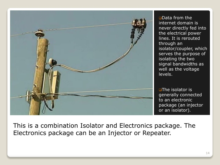Data from the internet domain is never directly fed into the electrical power lines. It is rerouted  through an isolator/coupler, which serves the purpose of isolating the two signal bandwidths as well as the voltage levels.