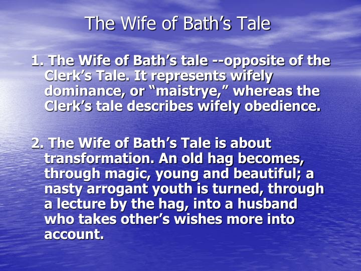 a brief analysis of wife of baths tale This book is about how a knight goes around asking women what they most desire, and meets and old lady who tells the night she will give him the answer as long as she marries her.