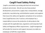 cargill food safety policy