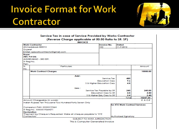 Invoice Format for Work