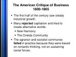 the american critique of business 1800 1865