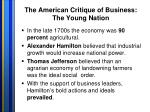 the american critique of business the young nation