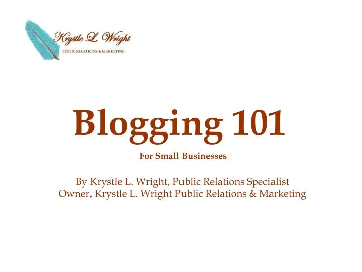 blogging 101 n.