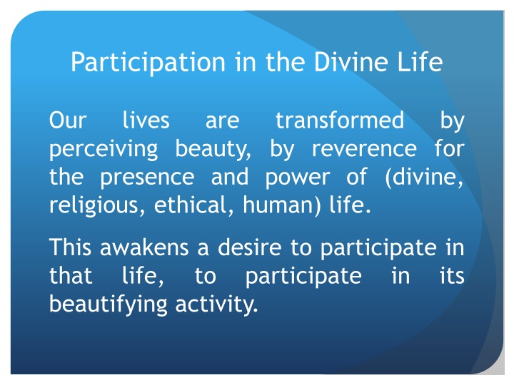 Participation in the Divine Life