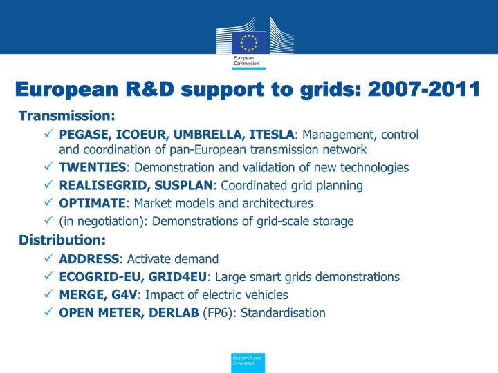 European R&D support to grids: 2007-2011