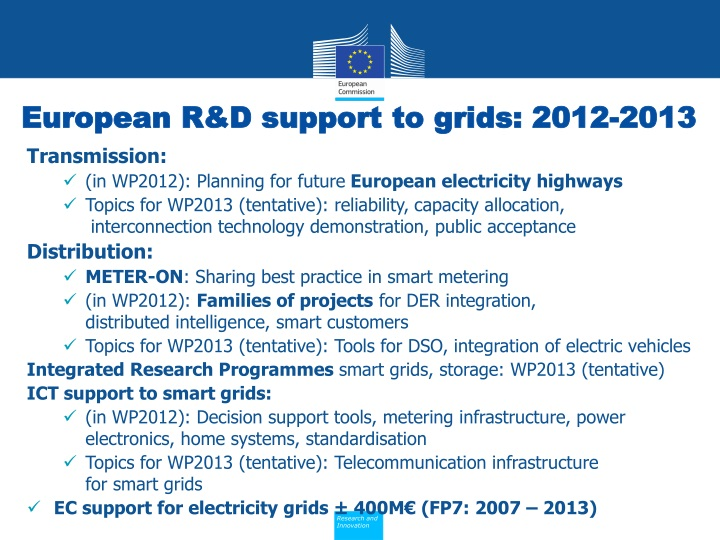 European R&D support to grids: 2012-2013