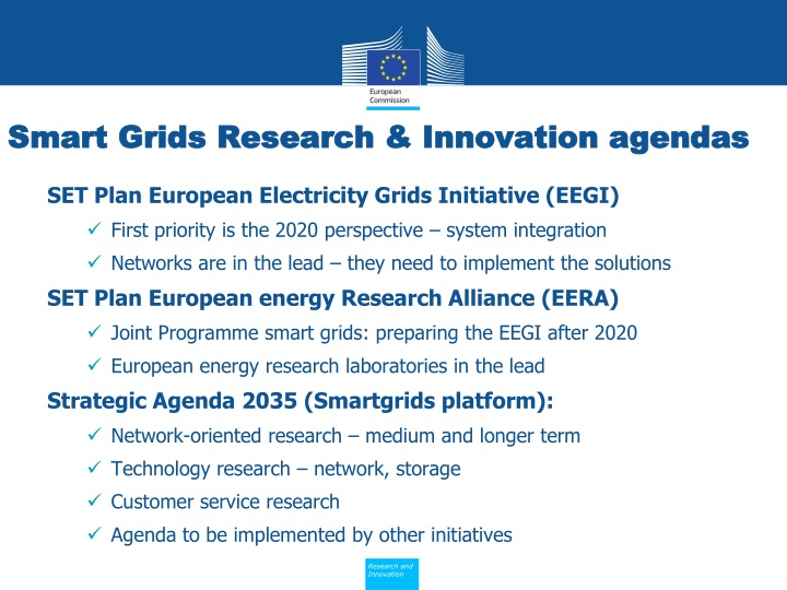 Smart Grids Research & Innovation agendas