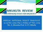 mkukuta review and emerging issues for mkukuta ii