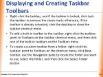 displaying and creating taskbar toolbars