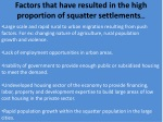 factors that have resulted in the high proportion of squatter settlements