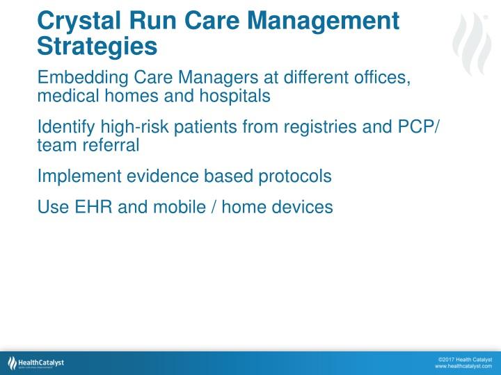 Crystal Run Care Management Strategies