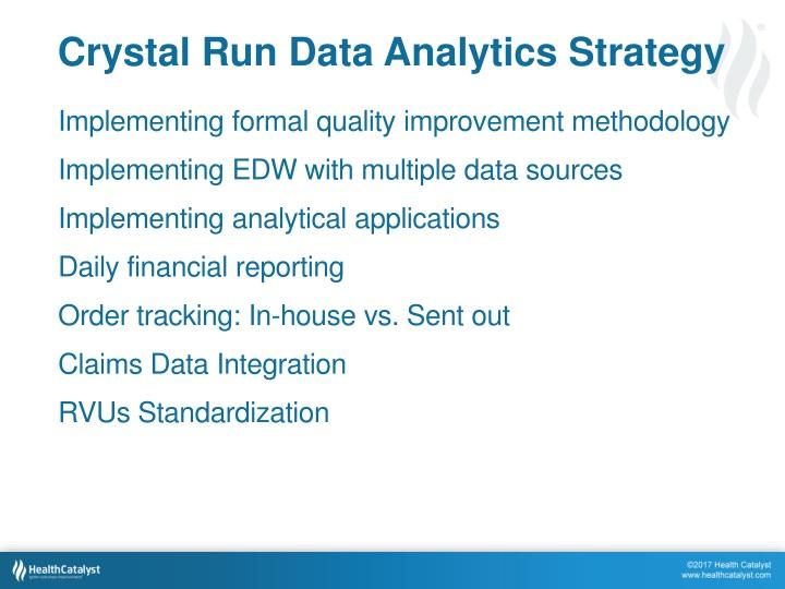 Crystal Run Data Analytics Strategy