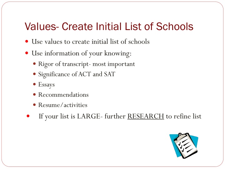 Values- Create Initial List of Schools