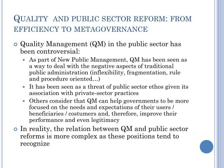 Quality  and public sector reform: from efficiency to