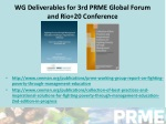 wg deliverables for 3 rd p rme global forum and rio 20 conference