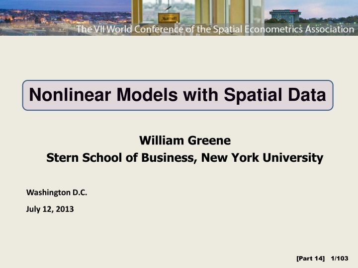 nonlinear models with spatial data n.
