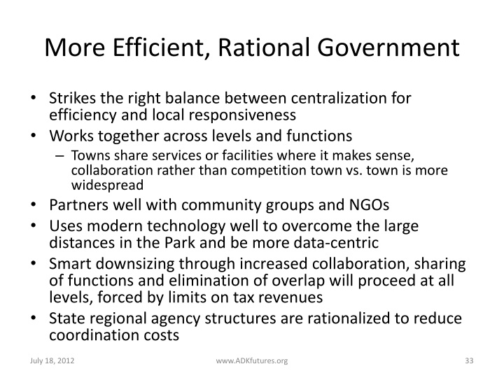 More Efficient, Rational Government