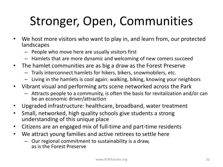Stronger, Open, Communities