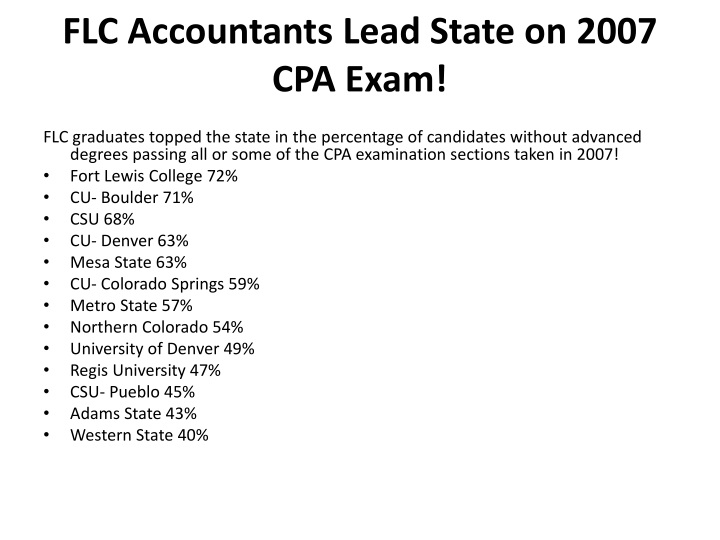 FLC Accountants Lead State on 2007 CPA Exam!