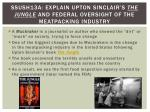 ssush13a explain upton sinclair s the jungle and federal oversight of the meatpacking industry