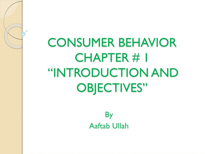 consumer behavior chapter 1 introduction and objectives n.