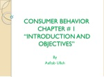 consumer behavior chapter 1 introduction and objectives