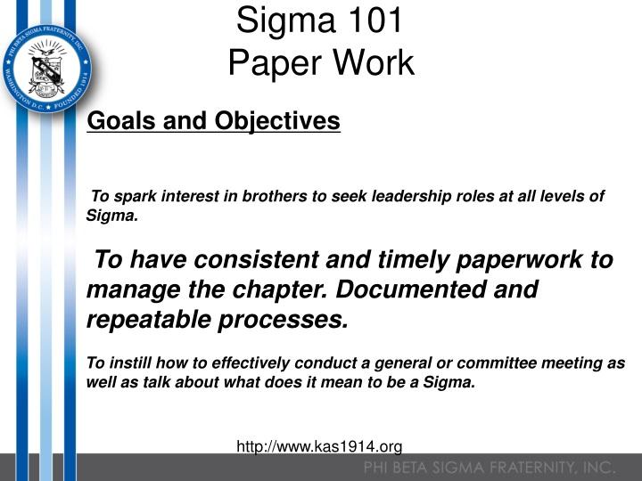 sigma 101 paper work n.