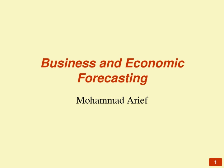 business and economic forecasting