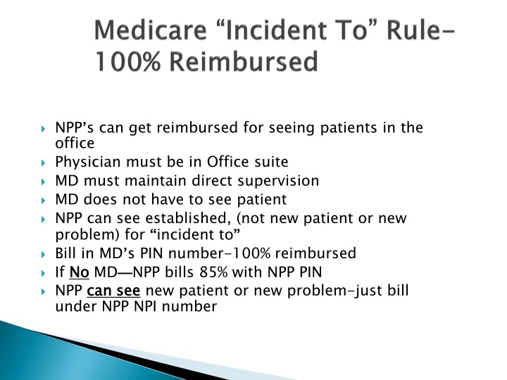 "Medicare ""Incident To"" Rule-100% Reimbursed"