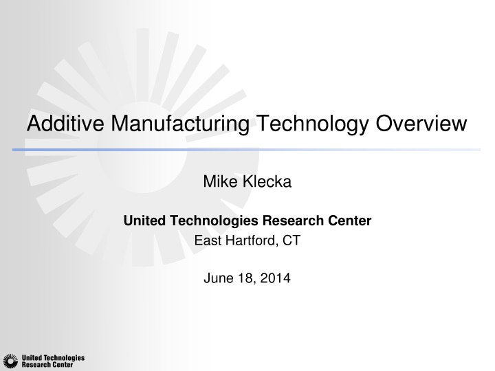 additive manufacturing technology overview n.