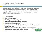 topics for consumers