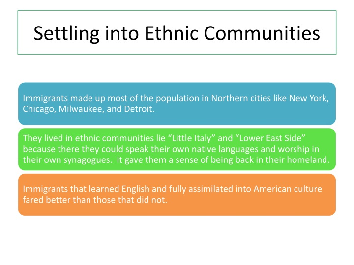 Settling into Ethnic Communities