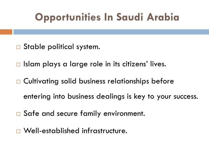 Opportunities In Saudi Arabia