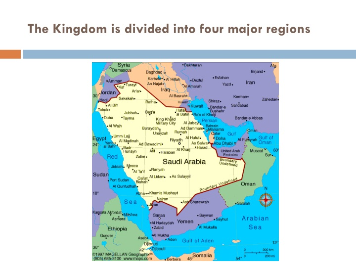 The Kingdom is divided into four major regions