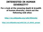 interested in human diversity